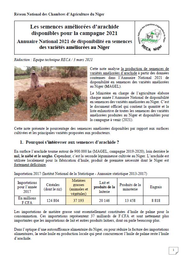 Les semences améliorées d'arachide disponibles pour la campagne 2021 au Niger