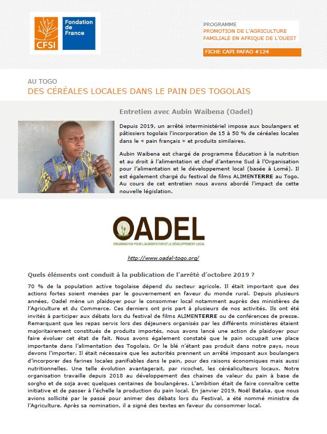 Entretien : Des céréales locales dans le pain des Togolais