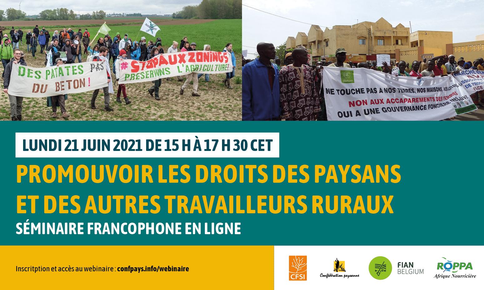 Webinaire droits des paysans et des travailleurs ruraux / droit à la terre / 21 juin 15-17h30 CET